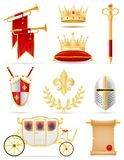 Les attributs d'or royaux de roi de la puissance médiévale dirigent l'illustrati illustration libre de droits