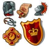 Les attributs d'un chevalier médiéval d'isolement sur le fond blanc Armure, bouclier et récompense Illustration de vecteur illustration libre de droits