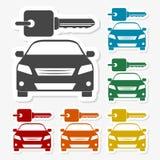 Les autocollants de papier multicolores - louez une conception de transport de voiture Images libres de droits