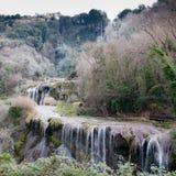 Les automnes de Marmore en jour de froid de l'hiver Photos libres de droits