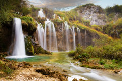 Les automnes de Plitvice Photographie stock libre de droits