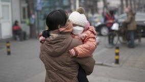 Les autorités de Pékin amplifient le deuxième niveau de rouge d'alerte de brouillard enfumé Photo stock