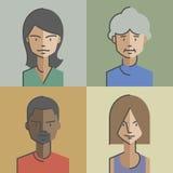 Les avatars masculins et de femelle de visages ont placé 02 illustration stock