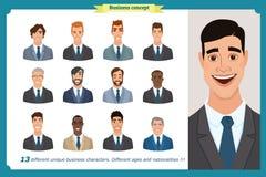 Les avatars plats d'hommes d'affaires ont placé avec le visage de sourire collection d'icônes d'équipe Photo libre de droits