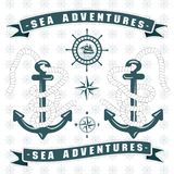 Les aventures de mer ancrent le logo avec la corde autour illustration de vecteur