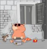Les aventures du chat et de la souris homelessness Photos stock
