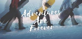 Les aventures sont pour toujours concept de voyage de voyage de voyage Image stock