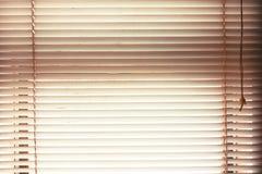 les aveugles de fenêtre s'ouvrent avec le fond naturel de vue de tache floue dans le vintage Photo libre de droits