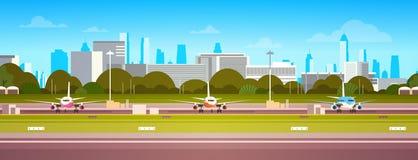 Les avions au-dessus du bâtiment d'aéroport, terminal moderne avec l'avion sur la piste attendant enlèvent le fond moderne de vil illustration de vecteur
