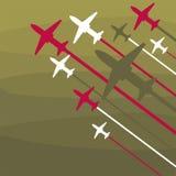Les avions décollent sur un fond vert illustration de vecteur