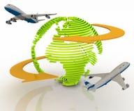 Les avions d'avion de passagers voyage autour du monde Image libre de droits