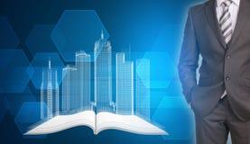 Les bâtiments d'homme d'affaires et de fil-cadre sur ouvert vident Photographie stock libre de droits