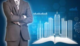 Les bâtiments d'homme d'affaires et de fil-cadre sur ouvert vident Images stock