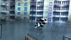 Les bâtiments de Chambres morphing des bancs de barrières balancent la glissière de morninglide illustration libre de droits