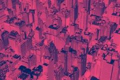 Les bâtiments de New York City avec le rose et le bleu ont inversé l'effet de couleur photographie stock
