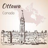 Les bâtiments gothiques Ottawa du Parlement de renaissance et carte Photos stock