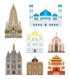Les bâtiments infographic de temple de cathédrales et d'églises ont placé le vecteur de tourisme de point de repère de l'Asie d'a Photos stock