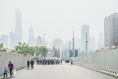 Les bâtiments modernes dans Lujiazui financent le secteur, Changhaï, Chine Photo libre de droits