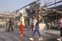 Les bâtiments ont brûlé pendant 1992 émeutes, Los Angeles centrale du sud, la Californie Image libre de droits