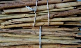 Les bâtons de cannelle crus d'épice ont empaqueté photographie stock libre de droits