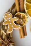 Les bâtons de la cannelle, fleurs de badian ou anis, ont séché des oranges et des citrons et des bonhommes en pain d'épice Images libres de droits