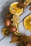 Les bâtons de la cannelle, fleurs de badian ou anis, ont séché des oranges et des citrons et des bonhommes en pain d'épice Photos libres de droits