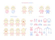 Les bébés nouveau-nés ont placé, des émotions et des choses, plates Photo libre de droits