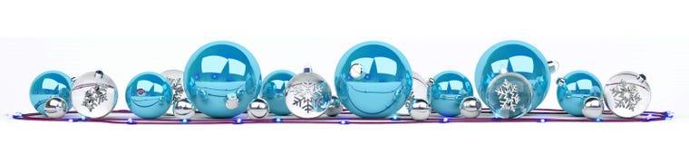 Les babioles de Noël bleu et blanc ont aligné le rendu 3D Images stock