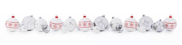 Les babioles de Noël rouge et blanc ont aligné le rendu 3D Images libres de droits
