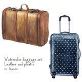 Les bagages d'aquarelle ont placé inclure la valise en cuir de vintage et la valise de point de polka illustration de vecteur