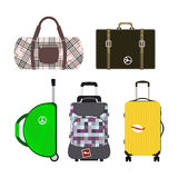 Les bagages de mode de tourisme de voyage ou destination de serviette et de voyage d'emballage de cuir de poignée de vacances de  Photo stock