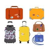 Les bagages de mode de tourisme de voyage ou destination de serviette et de voyage d'emballage de cuir de poignée de vacances de  Photographie stock libre de droits
