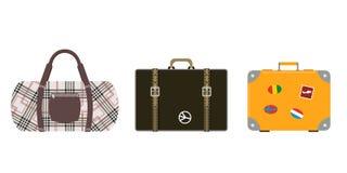 Les bagages de mode de tourisme de voyage ou destination de serviette et de voyage d'emballage de cuir de poignée de vacances de  Image stock