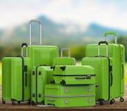 Les bagages durs verts de cas avec la nature aménagent le fond en parc Photo stock