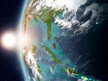 Les Bahamas pendant le coucher du soleil sur terre Images libres de droits