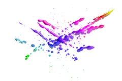 Les baisses colorées d'isolement sur le fond blanc, peignent l'éclaboussement, égouttements de brosse, modèle abstrait images stock