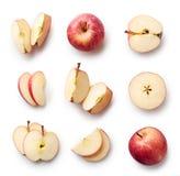 les baisses délicieuses de fond de pomme fraîches a le léger blanc de l'eau de cheminée d'ombre rouge organique saine image stock