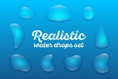 Les baisses transparentes réalistes de l'eau ont placé sur le fond bleu Illustration de vecteur illustration stock