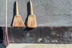 Les balais d'échantillonneur pour nettoyer et les balais de l'usine deux contre le mur images libres de droits