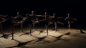 Les ballerines minces se sont tenues en position difficile sur l'étape dans l'obscurité banque de vidéos