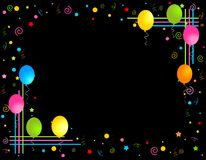 Les ballons colorés encadrent/trames de réception Photos libres de droits
