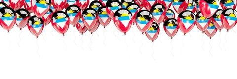 Les ballons encadrent avec le drapeau de l'Antigua et du Barbuda Photos stock