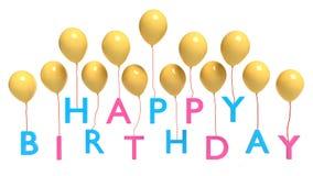 Les ballons portant le joyeux anniversaire textotent le rendu 3d Photos libres de droits