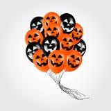 Les ballons réalistes avec la bande dessinée de Halloween font face au vol pour la partie ou les célébrations plan rapproché Photos stock