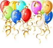 Les ballons réalistes colorés d'hélium d'isolement sur le fond blanc dirigent la page de site Web d'illustration et la conception illustration stock