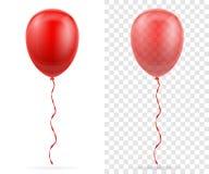 Les ballons transparents rouges de célébration ont pompé l'hélium avec le ruban s illustration libre de droits