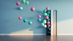 Les ballons volent loin par la porte ouverte Image stock