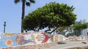Les bancs carrelés dans l'amour se garent, Miraflores, Lima Photo libre de droits