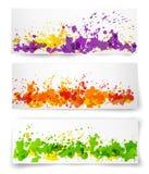 Les bannières avec multcolored éclabousse Image libre de droits