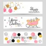 Les bannières de salutation de Joyeux Noël et de bonne année ont placé dans des couleurs roses, d'or et noires illustration libre de droits